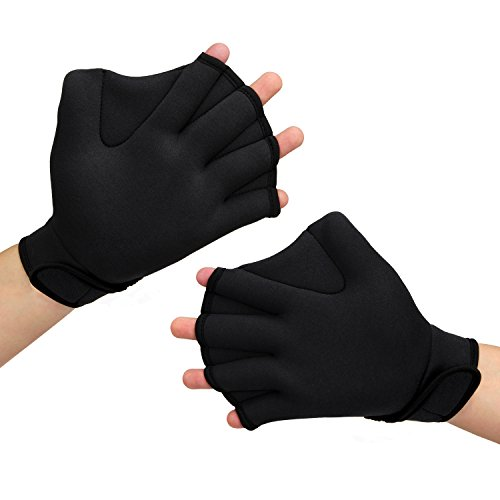 PAMASE Webbed Aqua Swimming Gloves for Water Aerobics & Training-Exercise of Women & Men-L (Aqua Glove)