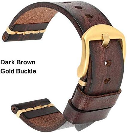 TGBZ ユニバーサル時計手作り時計バンド20ミリメートル21ミリメートル22ミリメートル23ミリメートル24ミリメートルレザー腕時計バンド (Band Color : DarkBrown Gold, Band Width : 21mm)