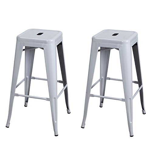 Joveco 30 Inches Sheet Metal Frame Tolix Style Industrial Chic Chair Backless Bar Stool – Set of 2 Light Grey Wholesale Price Available
