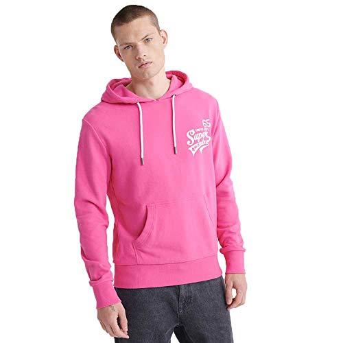 Superdry Sweater Herren Script Classic Hood Shocking Pink
