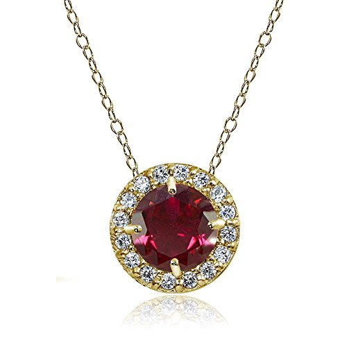 Yellow Gold Flashed Sterling Silver Created Ruby and Cubic Zirconia Accents Round Halo Necklace ()