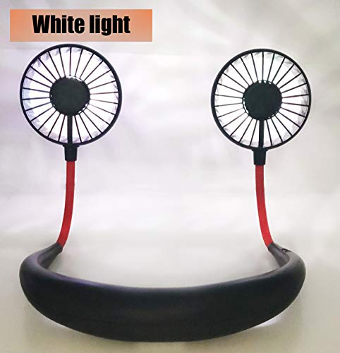 Hand Free USB Personal Fan- Portable Handheld Mini LED Fan Headphone Design Neckband Fan Internal Rainbow and White Light, 3 Speeds, Quiet, Rechargeable Perfect for Sports, Traveling and Office