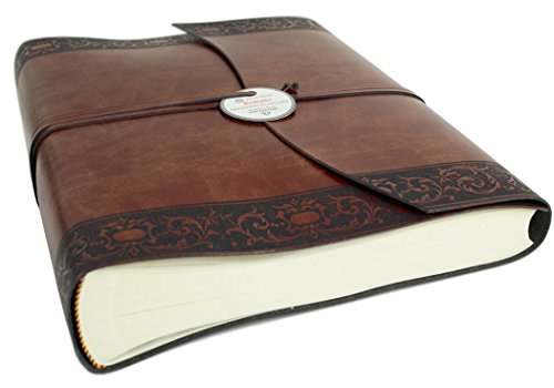 Romano Classico Large Chestnut Handmade Recycled Leather Wrap Photo Album, Classic Style Pages (30cm x 24cm x 6cm) by LEATHERKIND