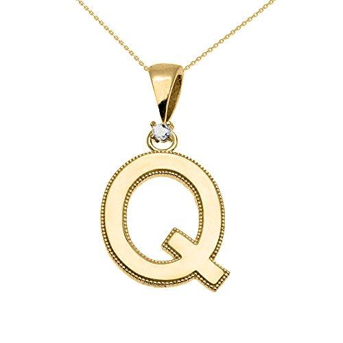 """Collier Femme Pendentif 14 Ct Or Jaune Poli Élevé Milgrain Solitaire Diamant """"Q"""" Initiale (Livré avec une 45cm Chaîne)"""