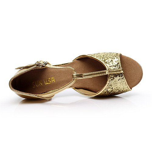 Gold Women's Shoes Kids' Heel Q Other Paillette Chunky Gold T Dance T XZvwEE