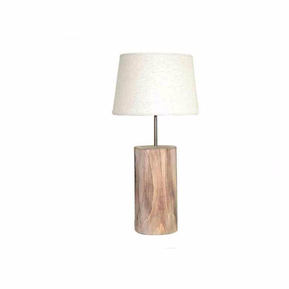 32c239c25983 CJSHVR-Table Lamp European Style Retro Cracking Wooden Pile Desk Lamp  Reading Led Eye Shade Wooden Study Room Living Room Vertical Desk Lamp,White  Lampshade