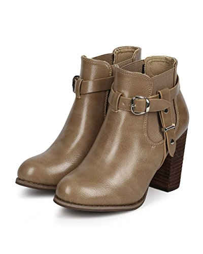 Dbdk Dk80 Donna Similpelle Cintura Tacco Grosso Zip Chelsea Bootie Taupe Similpelle
