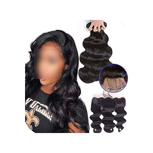 Brazilian Hair Weave Bundles Body Wave Bundles With Frontal Human Hair 2/3 Bundles With Closure Frontal Hair Extension,20 20 20+18Closure,Natural Color,Free Part]()