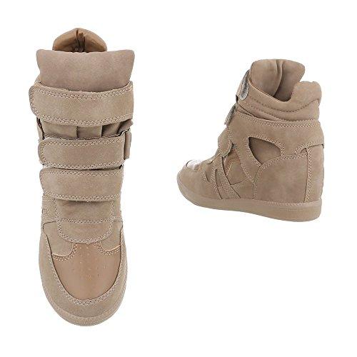 Women's Trainers Wedge Heel Sneakers high at Ital-Design Light Brown M271 Pjgt6Nm