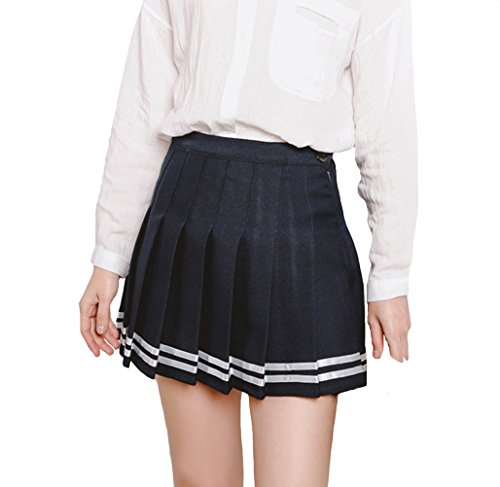 Minuoyi Sports High Waist with Underpants Tennis Badminton Cheerleader Pleated Skirt (Tag Size S, Navy Blue + White Stripe)