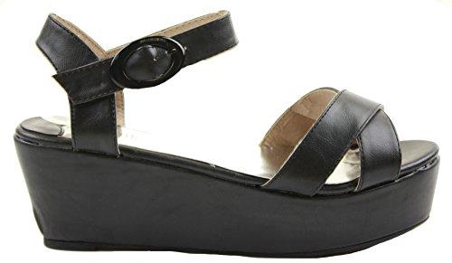 Ladies Womens Flatform Low Medium Heel Platform Wedges Shoes Peeptoe Wedge Sandals Size Size 3-8 New Black JJNXqTNiTj
