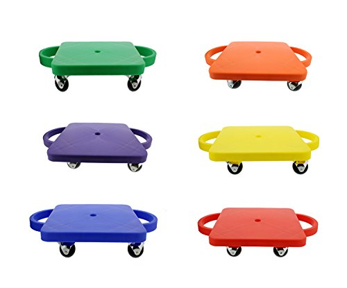 "Get Out! Plastic Scooter Board 6-Pack, Wide Handles, 12"" x 12"" Inches - Gym Class Manual Scooter Boards for Kids"