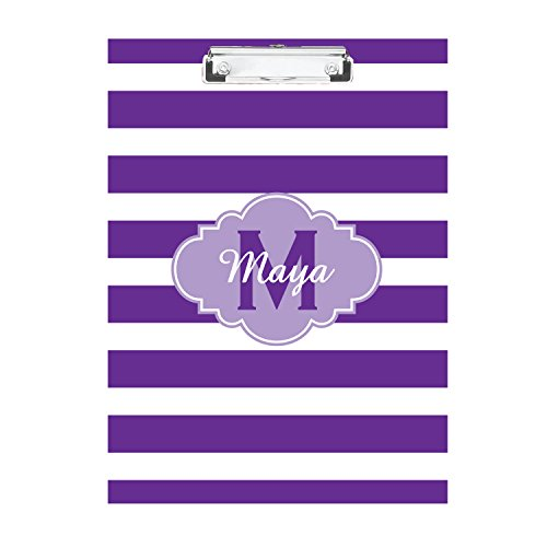 Purple Striped with Purple Monogrammed Double Sided Hardboard Clipboard Monogrammed Clipboard