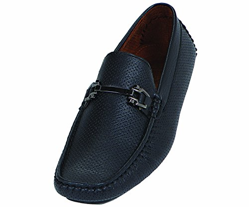 Amali Mens Driving Moccasin Loafer In Perfed Smooth With Silver Ornament In Black Style Nolan Black-000 Black odZTvhk