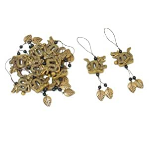 Cerhinu 10 Pcs Black Beads Accent Brown Leaves Dragon Shaped Pendants Nylon Strap String