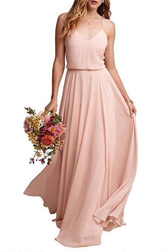 (EverLove Women's Long Spaghetti Straps Prom Dress Chiffon Bridesmaid Dresses Pink2 US16)