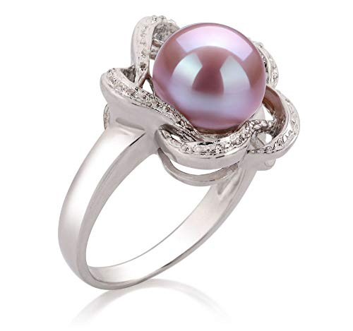 Fiona Lavender 9-10mm AA Quality Freshwater 925 Sterling Silver Cultured Pearl Ring For Women