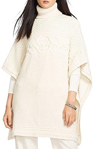 Lauren Ralph Lauren Womens Wool Poncho Sleeves Poncho Sweater Ivory Petite ()