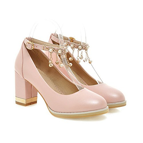 VogueZone009 Damen Hoher Absatz Weiches Material Eingelegt Schnalle Rund Zehe Pumps Schuhe Pink