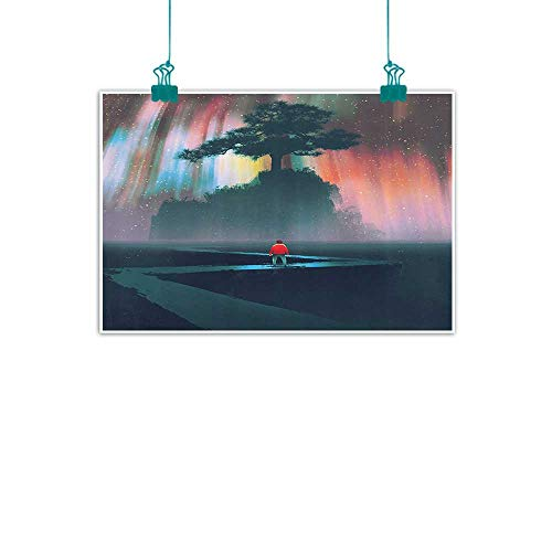 cor Wall Art Decor Poster Painting Man Begins a Journey on Winding Road to The Big Tree Universe Paint Decorations Home Decor 47