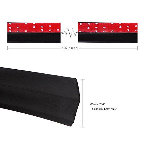 2.5m Vingtank Pare-chocs avant de voiture 60mm Largeur 8.2ft Rubber Front Bumper Lip Splitter Spoiler Chin Lip Skirt Protector