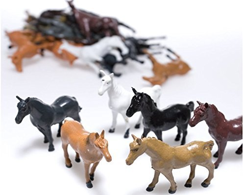 Horse Figures, Plastic Toy Horses, Set of 24 for Cupcake Toppers, Party Favors