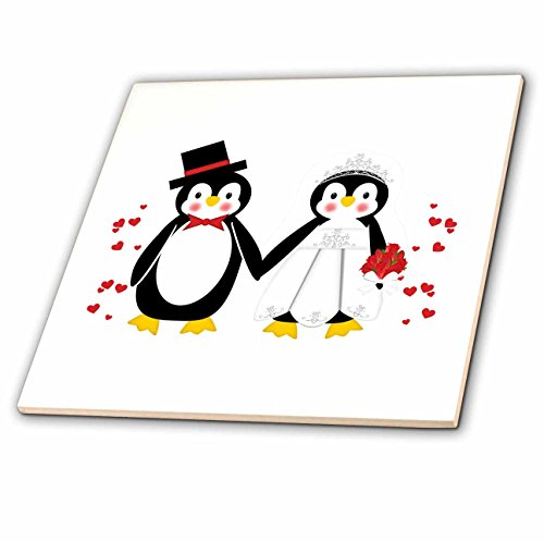 3dRose ct_164801_2 Cute Red Hearts Penguin Bride and Groom Wedding Couple-Ceramic Tile, 6-Inch ()