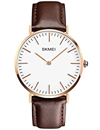 INWET Casual Quartz Watch for men,Simple Dial,Brown Leather Strap