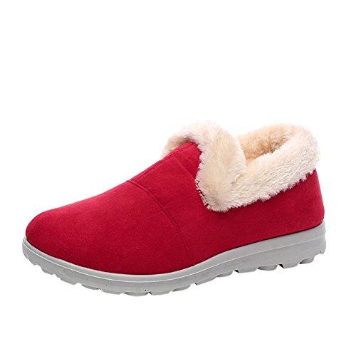 Meijunter Damen Winterschuhe Warmfutter Schneestiefel Kurzschaft Winter Stiefel Outdoor Freizeit Schuh Rot
