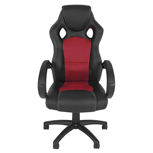 racing office chair pu leather swivel computer desk seat high back red