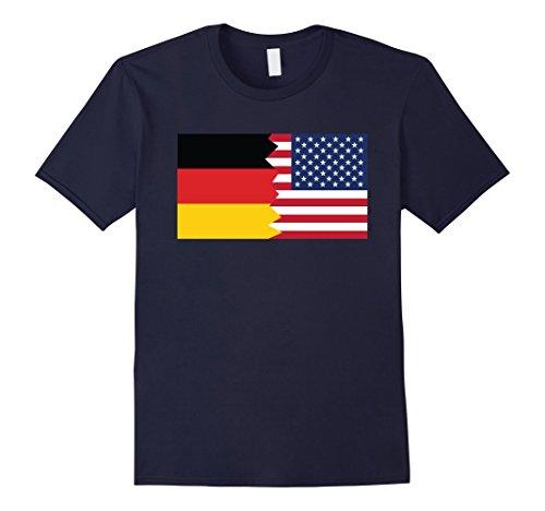 Mens German American Half Germany Half America Flag T-Shirt 3XL Navy