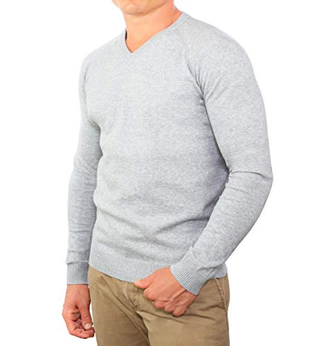 (Comfortably Collared Men's Perfect Slim Fit Lightweight Soft Fitted V-Neck Pullover Sweater, X Large, Heather Grey2)