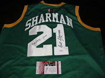 official photos 91c3c 743a6 Bill Sharman Autographed Jersey - coa Throwback - JSA ...