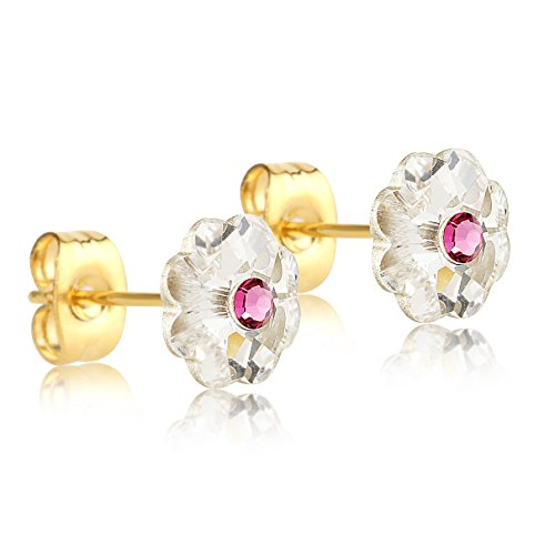 Gold Baby Earrings (24K Gold Coated Stud Earrings with 8mm Clear and Pink Swarovski Crystal Flowers)