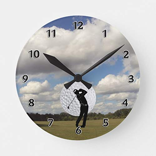 Golf World Wall Clocks Large Decorative Silent Non-Ticking Wood Clock for Women 16 Inches