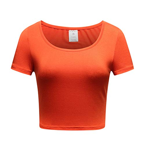 - OThread & Co. Women's Basic Crop Tops Stretchy Casual Scoop Neck Cap Sleeve Shirt (Small, Rust)