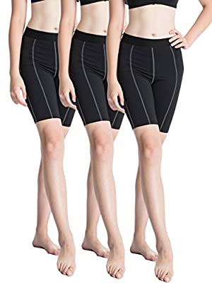 Neleus Women's Compression Running Fitness Athletic Sport Shorts Pack of 3 or 2