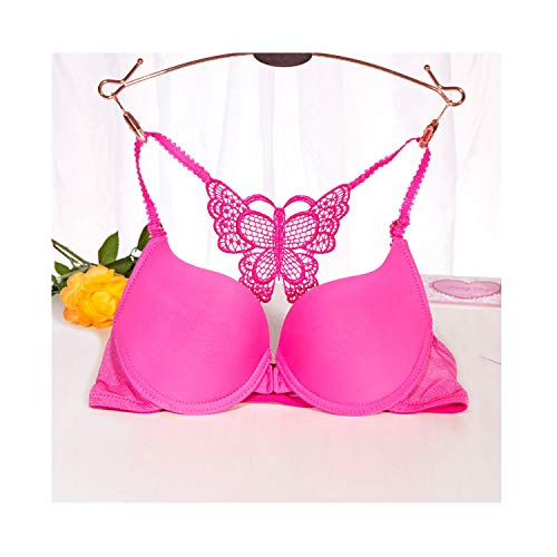 Ab 70 75 80 Cup Women Bra Push Up Seamless Sexy Butterfly Y-Line Straps Underwear Front Closure Brassiere Young ()
