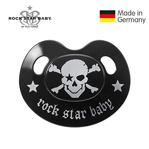 ROCK STAR BABY by Tico Torres - Silicone Slim Orthodontic Baby Pacifier - Size 1 for 0-6 Months - Single Pacifier - Pirate, Black