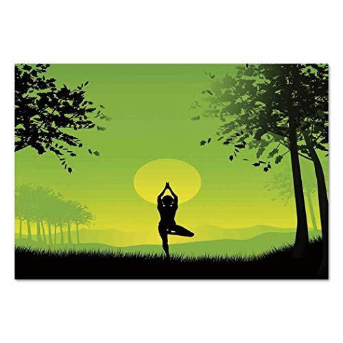 Large Wall Mural Sticker [ Yoga Decor,Meditating Lady Under Sunset Sky in the Forest Serenity Balance Soul Nature Artwork,Green Black Yellow ] Self-adhesive Vinyl Wallpaper / Removable Modern Decorati