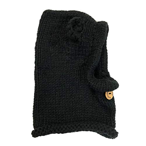 (PAUBOLI Kids Winter Knitted Hood Scarf Beanies Ear Warmers Cartoon Fox Rabbit Bear Wolf Cloak Woolen Cap Coat Set (Black Bear))