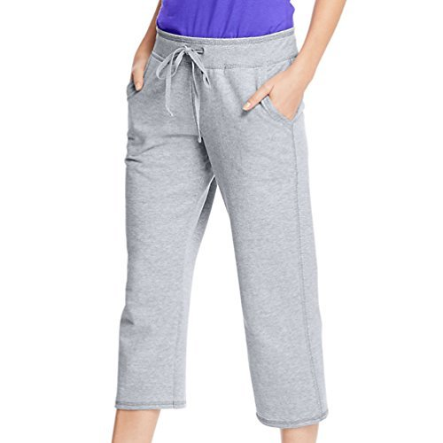 Hanes Premium Womens French Terry Capri with pockets, Grey, L