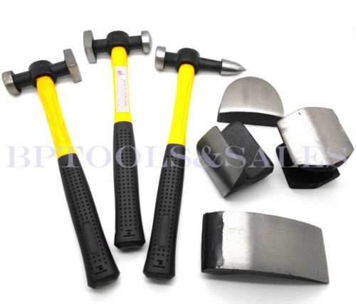 7 Pc Auto Body Fiberglass Fender Repair Tool Hammer Dolly Dent Bender Auto Kit Fender Glass