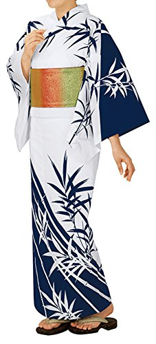 踊り衣裳 反物 大印 本絵羽ゆかた 白×濃紺 レディース