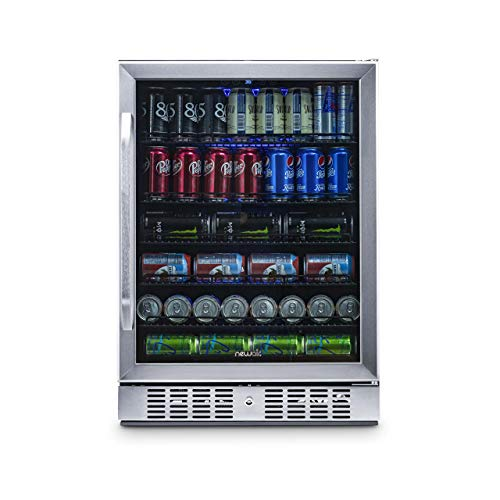 - NewAir Built-In Beverage Cooler and Refrigerator, Stainless Steel Mini Fridge with Glass Door,  177 Can Capacity, ABR-1770
