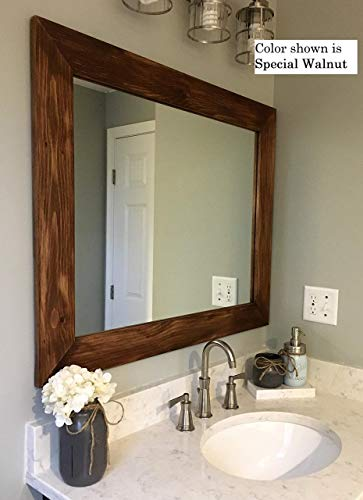 Shiplap Large Wooden Framed Mirror Available in 4 Sizes and 20 Colors: Shown in Special Walnut Stain - Large Wall Mounted Mirror - Decor Bathroom - Vanity Mirror - Rustic Bathroom
