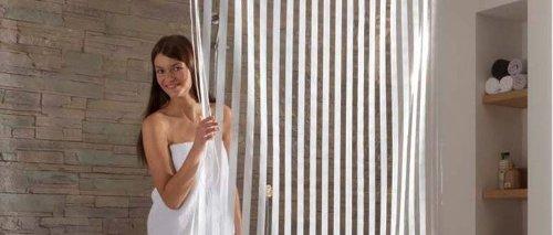 KLEINE WOLKE Duschrollo transparent, weiß