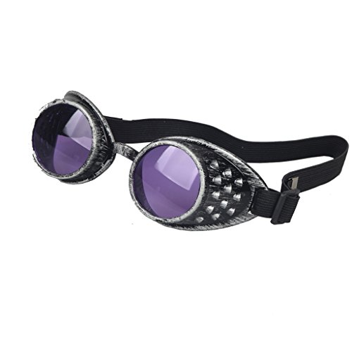 Careonline Vintage STEAMPUNK GOGGLES Glasses COSPLAY PARTY Sunglasses Eyewear Safty - Goggles Purple Steampunk