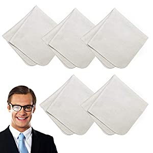 5 Piezas Paños de Limpieza Antivaho, Reutilizable paño de Limpieza Anti Niebla toallitas para, Desempañador para Anteojos, Gafas Casco de Motocicleta Lentes de Cámara 4