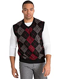 Gold Label Mens Black Tri-Tone Argyle High V-Neck Sweater Vest